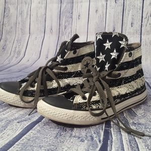 Converse Black and White Flag High Tops, Size 6